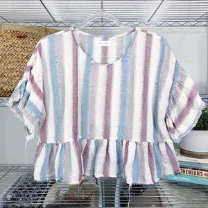 VESTIQUE distressed ruffle crop top blouse stripe